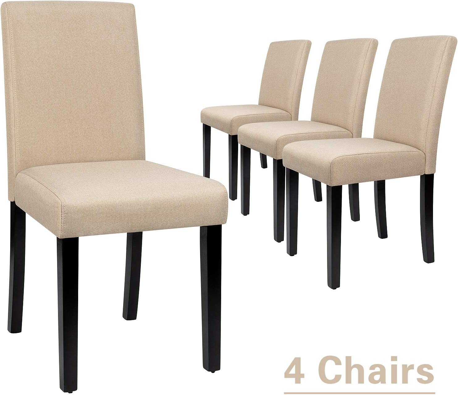 Furmax Dining Chairs Urban Style Fabric Parson Chairs Kitchen Living Room Armless Side Chair with Solid Wood Legs Set of 4 (Beige)