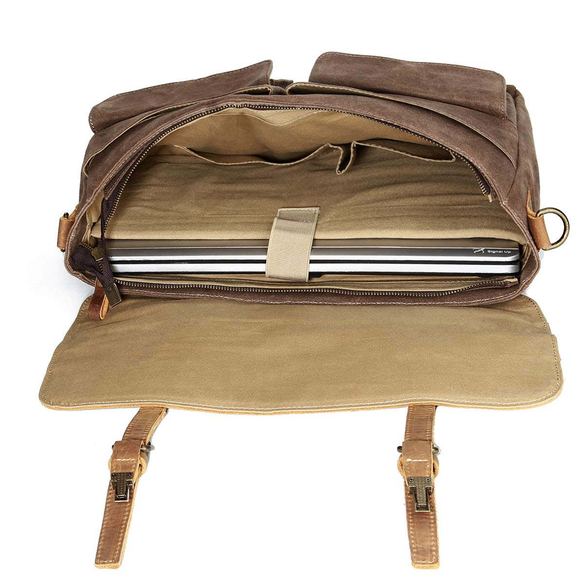 15.6 inch Computer Laptop Bags Water Resistant Travel School Work Bag Coffee Vintage Waxed Canvas Satchel Leather Briefcases Crossbody Shoulder Bags Tocode Large Messenger Bag for Men