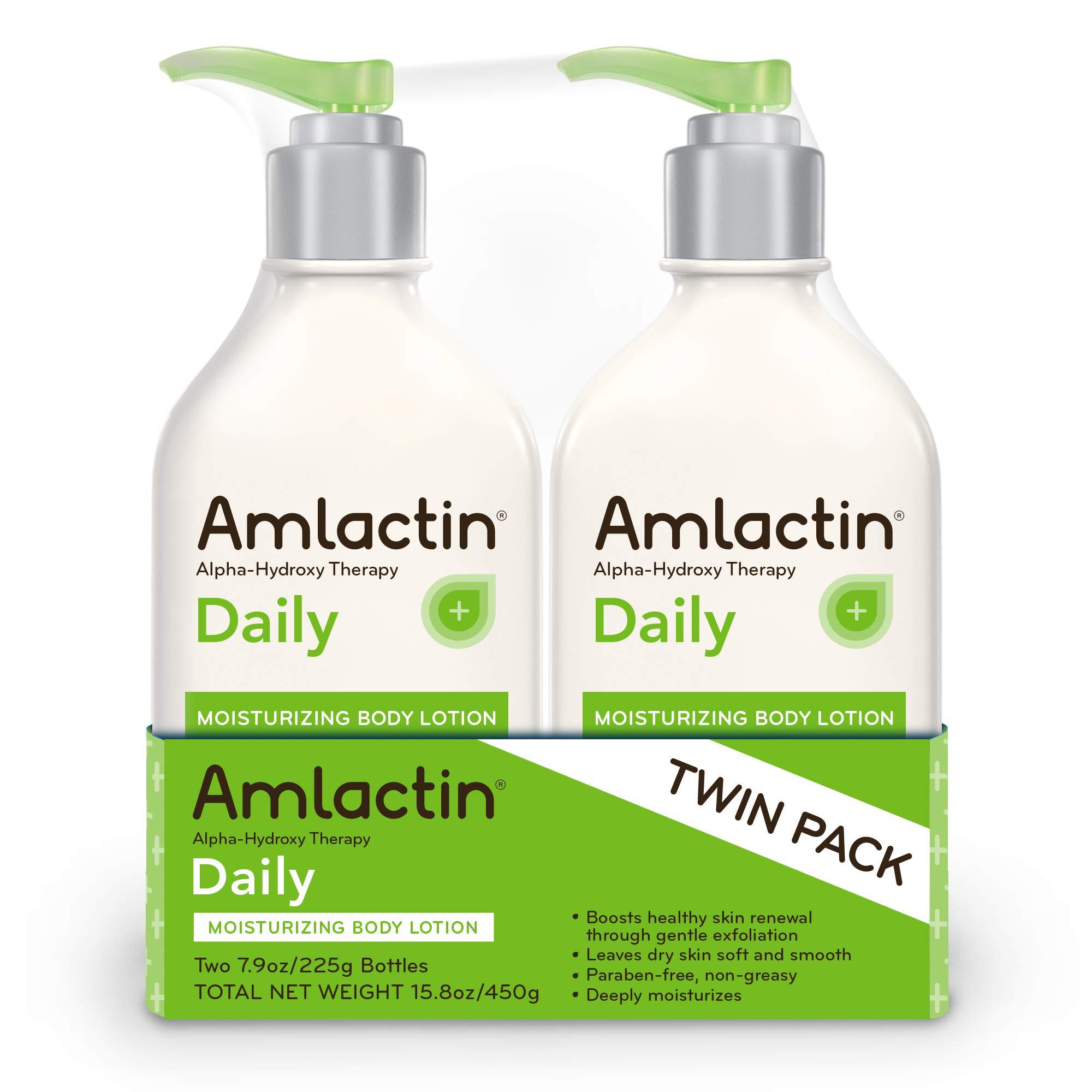 AmLactin Daily Moisturizing Body Lotion Twin Pack, (2) 7.9 Ounce Bottles, Paraben Free