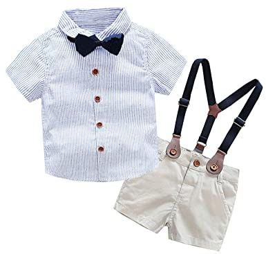 8dc0ba5c Baby Boys Dress Clothes, Toddlers Short Sleeves Button Down Vertical  Stripes Dress Shirt with Bowtie