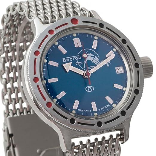 Vostok 420059 de anfibios malla pulsera ruso Mens Reloj de pulsera WR 200 M Anfibios Diver Scuba Dude: Amazon.es: Relojes
