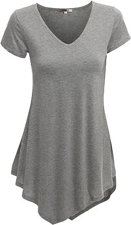 Doublju V-Neck Handkerchief Hem Long Tunic Shirt Top For Women With Plus Size