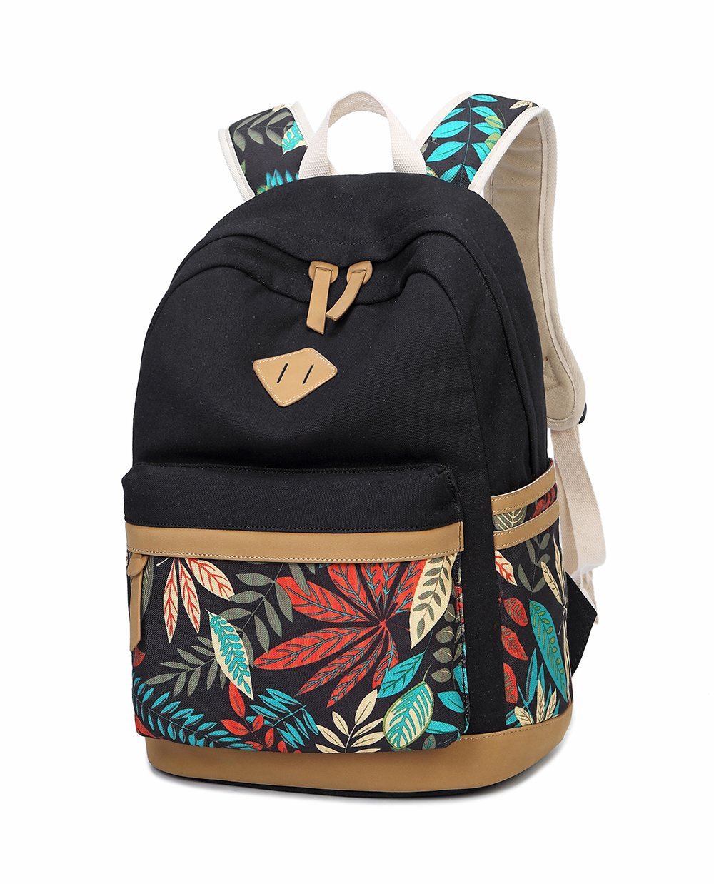 LuckyZ Women Backpack Lightweight Canvas Leather Daykpack Laptop School Bag Cute Printng Travel Shoulder Bookbags Leaf Black by Swacort