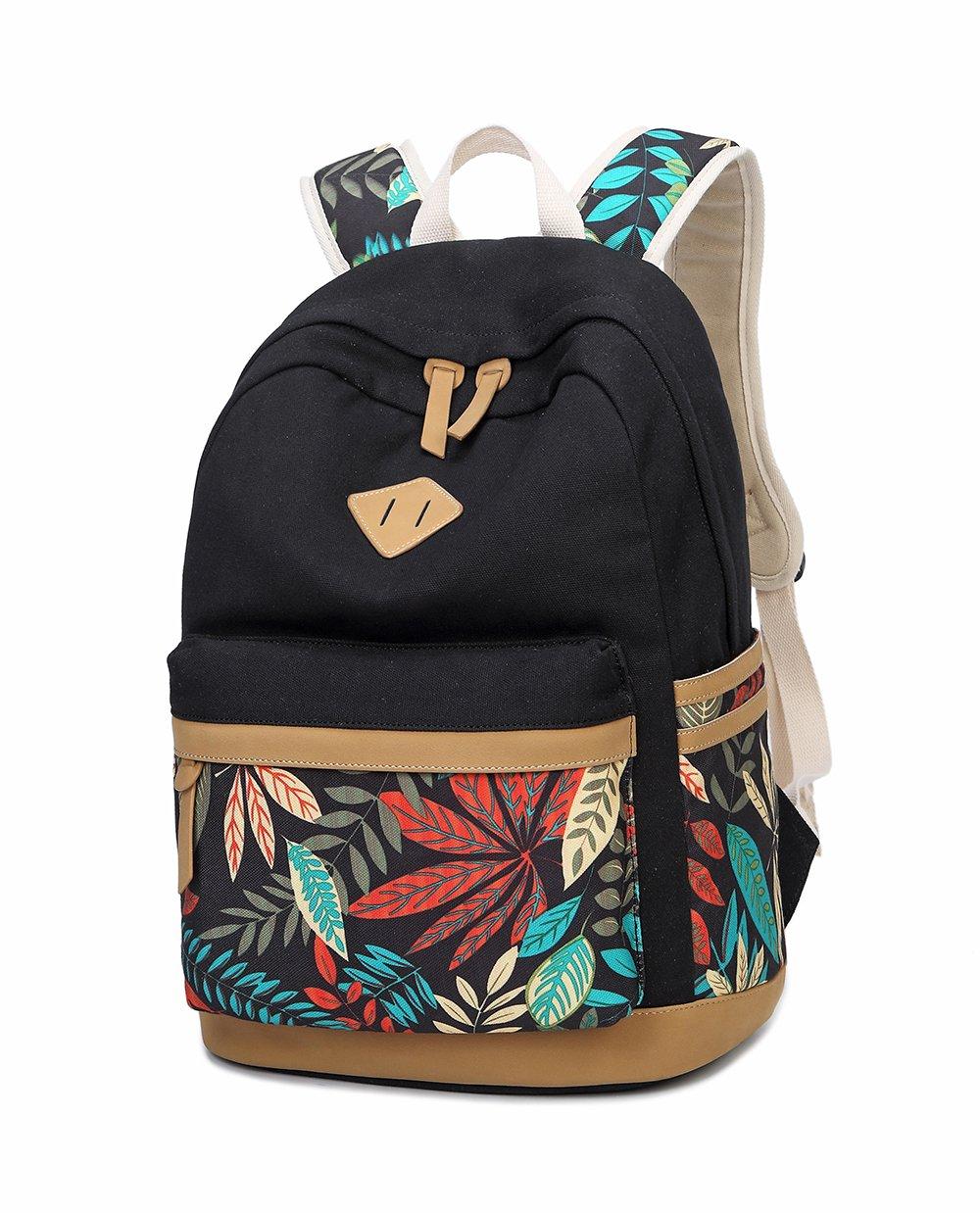 LuckyZ Women Girls Backpack Lightweight Canvas Leather Daykpack Laptop School Bag Cute Printng Travel Shoulder Bookbags Leaf Black