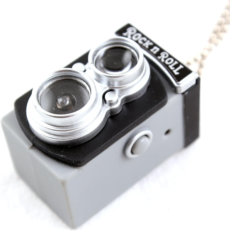 Mini Vintage Camera Gadget Jouet Porte-cl/és Flash Lampe de Poche Charm Ornament-Black