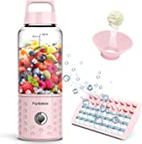 PopBabies Portable Blender, Mini Smoothie Maker with with USB Rechargeable, Larger Stronger and Faster, Blending While Charging with Ice Tray, Funnel, Recipe Princess Pink(FDA BPA Free)