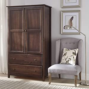 Modern Farmhouse Armoire Dresser Provides Classic Style & Contemporary Function. Wardrobe Closet Storage Organizer Features a 2 Door Cabinet & 2 Drawers for Your Bedroom. Solid Wood in Espresso Brown