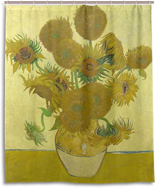 """Sunflower Oil Painting Polyester Fabric Shower Curtain Set Bathroom Ornament 71/"""""""