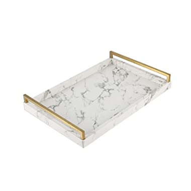 WV Decorative Tray Faux Leather PU Marble Finish with Brushed Ti-Gold Stainless Steel Handle (White)