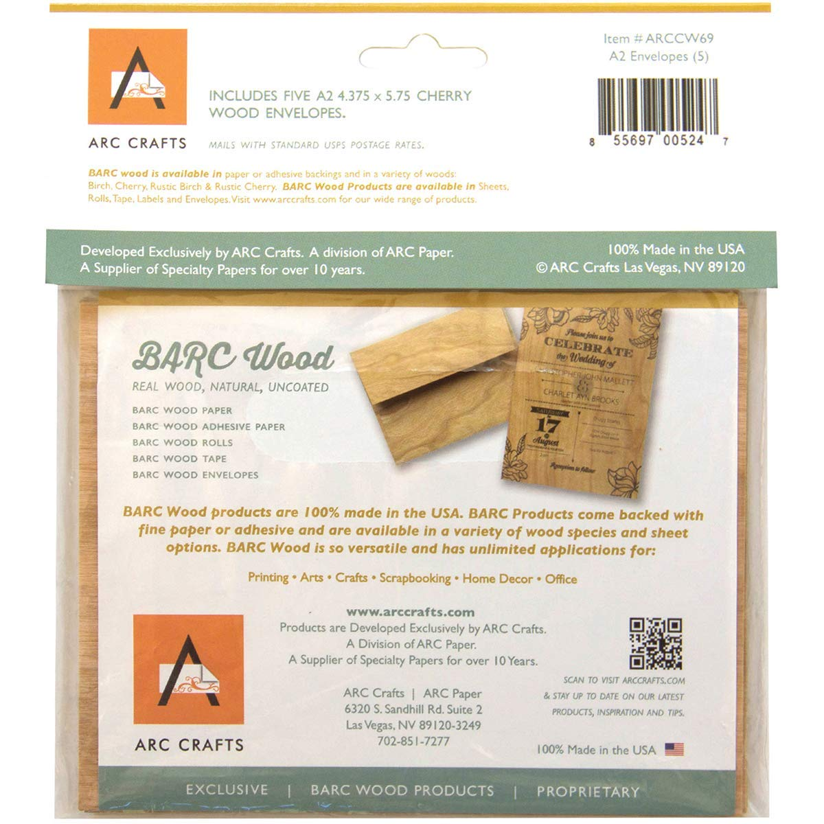 Arc Crafts ARCCW69 Barc Veneer A2 Envelopes 4.375 x 5.75 Cherry Wood 5 Pack