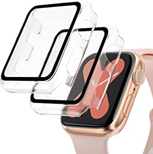 [2 Pack] Hard PC Case for Apple Watch Series 6/5/4/SE 44mm, Buit in 9H Tempered Glass Screen Protector,Full Coverage Guard, Scratch-Resistant Protective Bumper Case Cover for iWatch 44mm-Clear