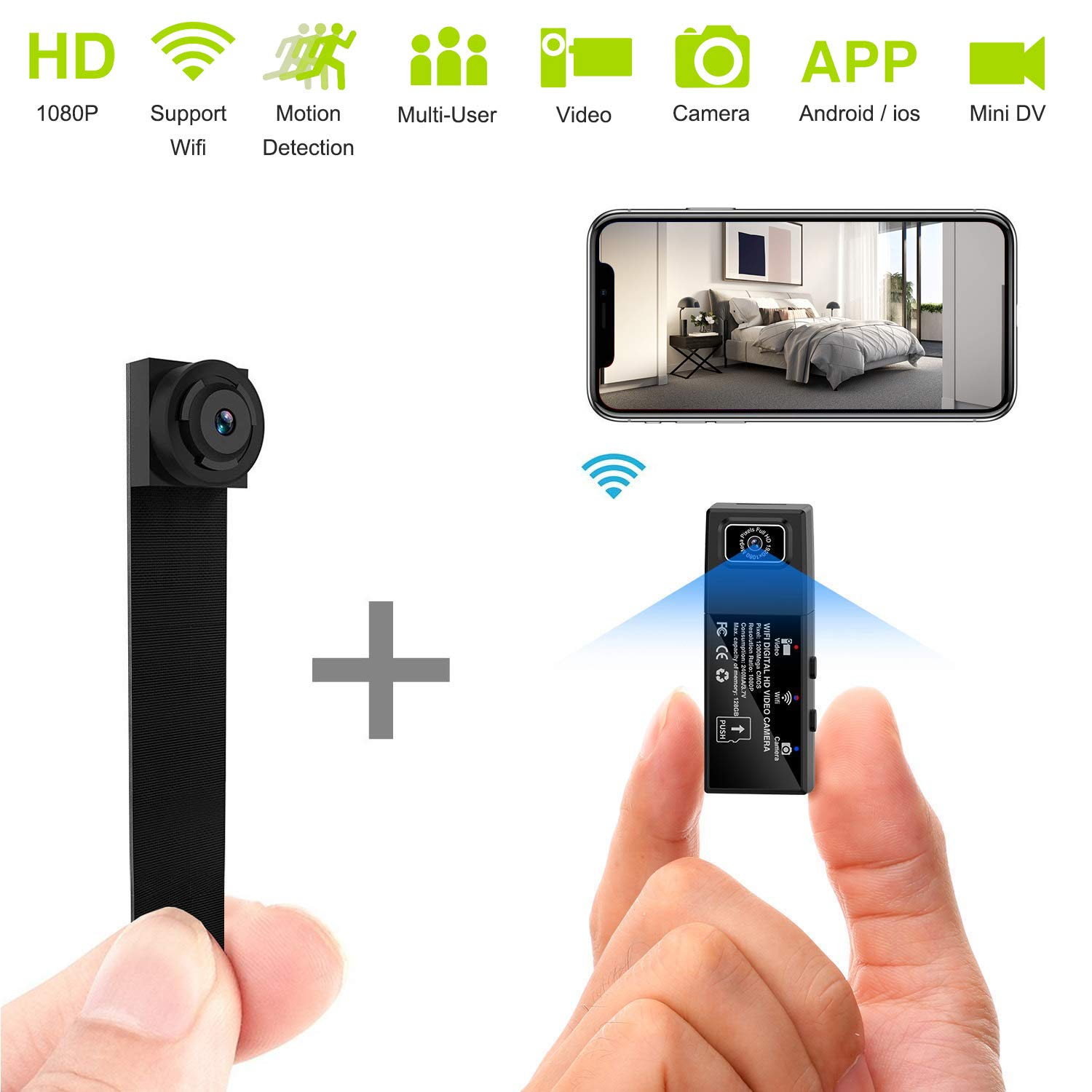 Mini Spy Camera WiFi Hidden Cameras HD 1080P Portable Wireless Small IP Camera Nanny Cam with Interchangeable Lens/Motion Detection for Home Office(Upgraded Version) by ELValley