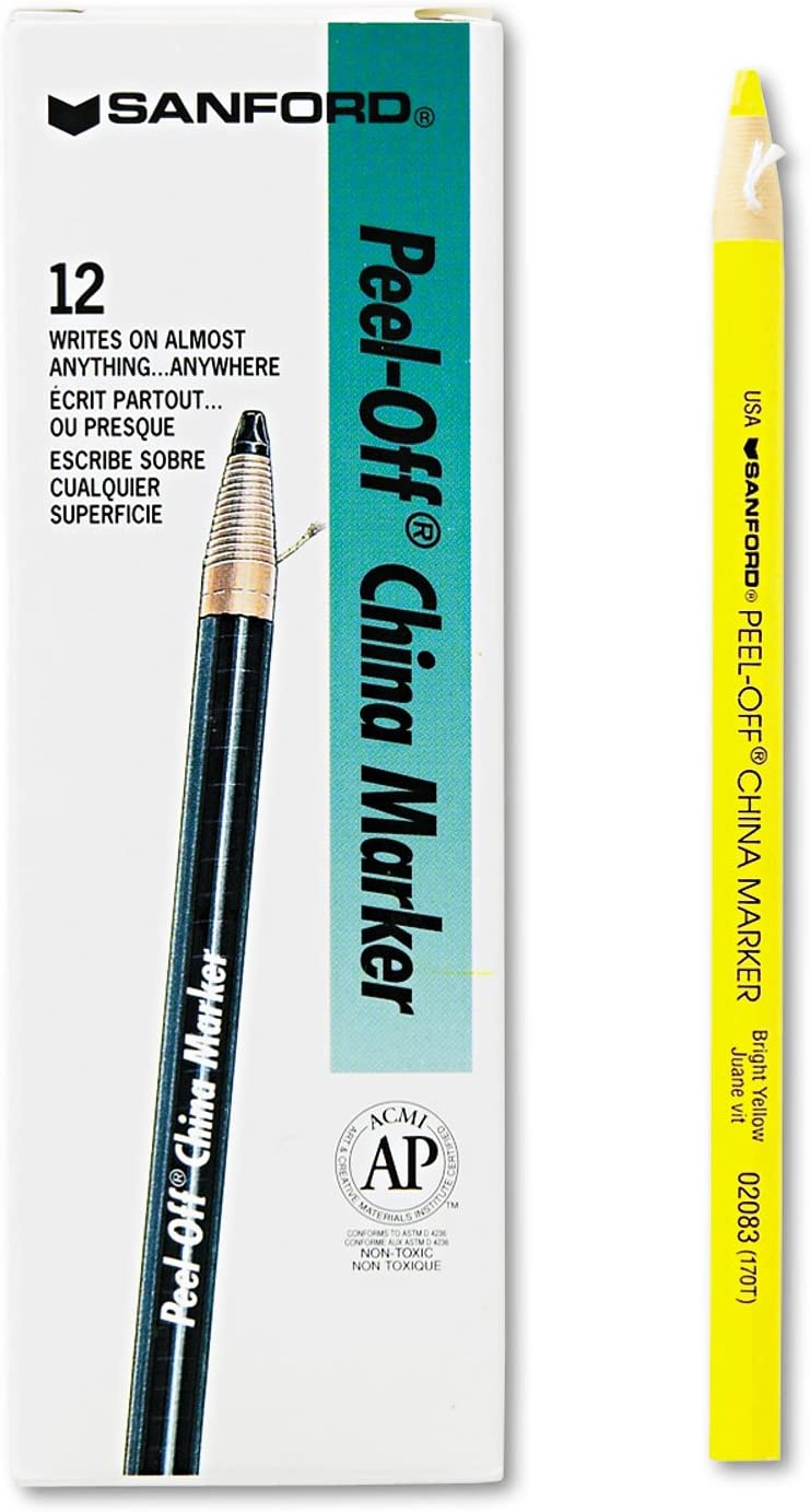 Sharpie Products - Sharpie - Peel-Off China Markers, Yellow, Dozen - Sold As 1 Dozen - Marks on porous and nonporous materials. - Moisture- and fade-resistant. - Pull string and peel down to freshen tip. - Erasable with a damp cloth. -