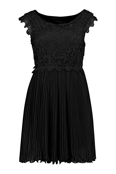 c9bc5f53a5 Boohoo Womens Boutique Elizabeth Corded Lace Pleated Skater Dress in Black  size