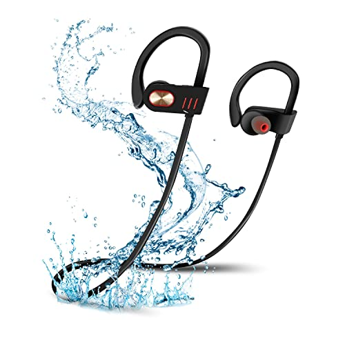 NEWSTYLE Bluetooth Headphones, Wireless In-Ear Sports Earphones with Mic IPX7 Waterproof HD Stereo Sweatproof Earbuds for Gym Running Workout 8 Hour Battery Noise Cancelling Headsets