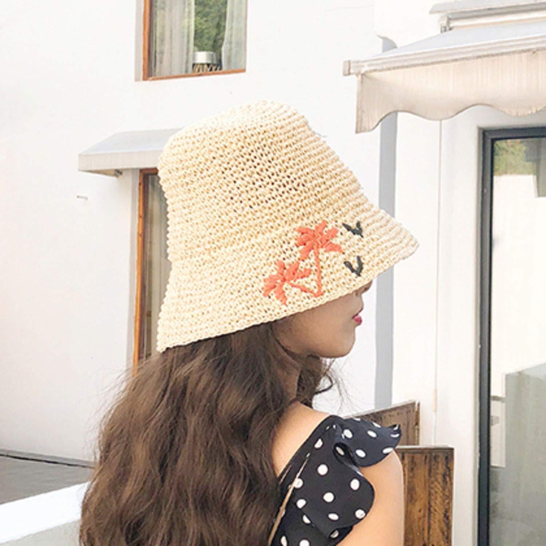 Summer Woman Spliced Floral Pattern Dome Foldable Straw Weaving Fisherman Hat