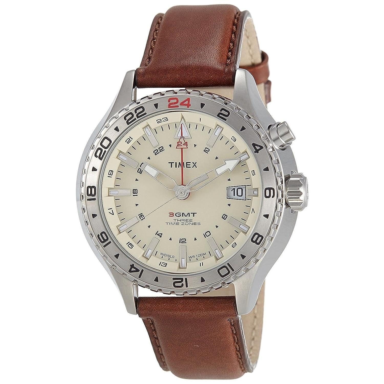 Timex Herren-Armbanduhr Analog Quarz Leder T2P426