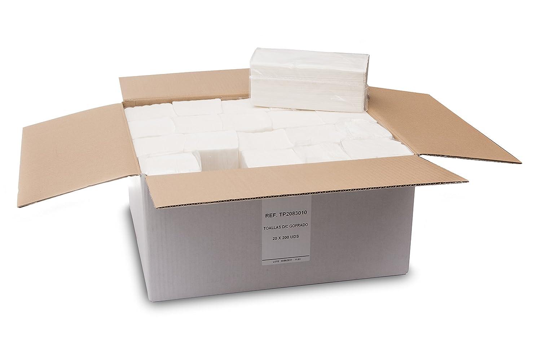 Saten Toalla de Papel de Mano, Celulosa Virgen, plegada en V, 20x23, gofrada, 2 Capas, Blanca, 20 Paquetes de 200 Unidades: Amazon.es: Industria, ...