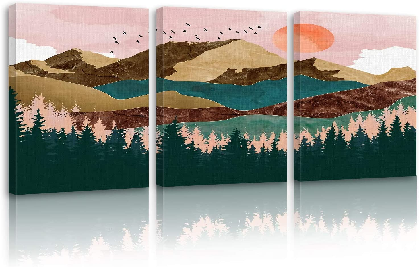 """Britimes Landscape Canvas Wall Art for Living Room Bathroom Bedroom, Home Decor Moutain and Forest Painting Canvas Print 3 Panels 12"""" X 16"""" Ready to Hang"""