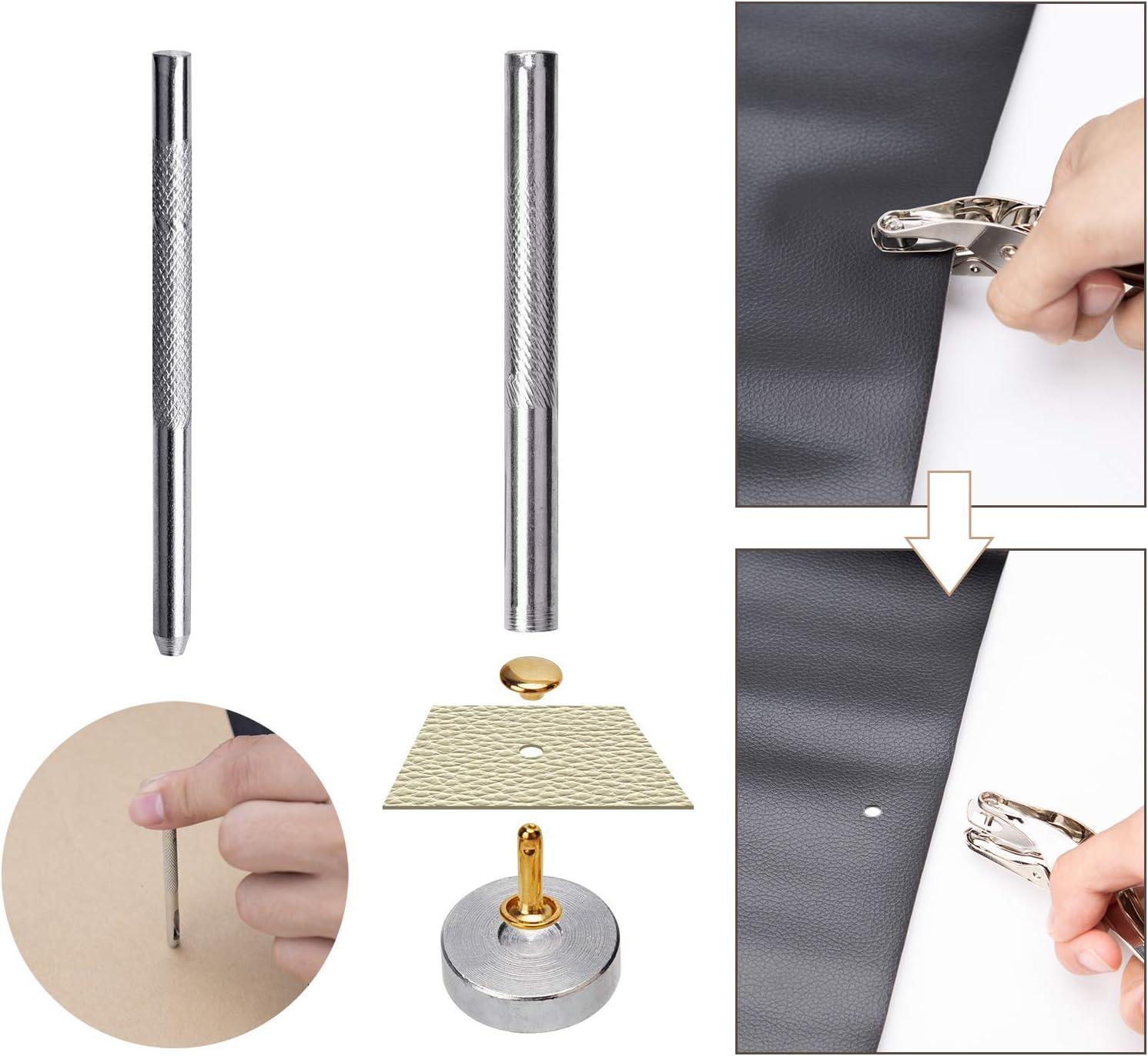 Aiex 360 Juegos Remaches de Cuero con alicates de perforación y 3 piezas Kit de herramientas de fijación