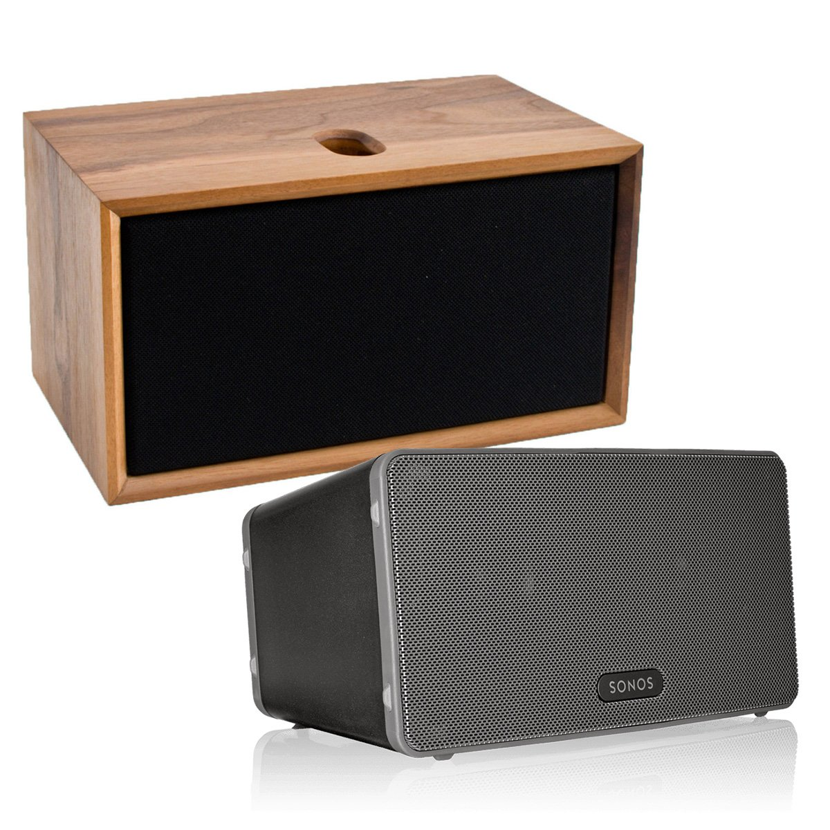 Sonos PLAY:3 All-In-One Wireless Music Streaming Speaker (Black) with Leon ToneCase Hardwood Cabinet (Black Walnut)