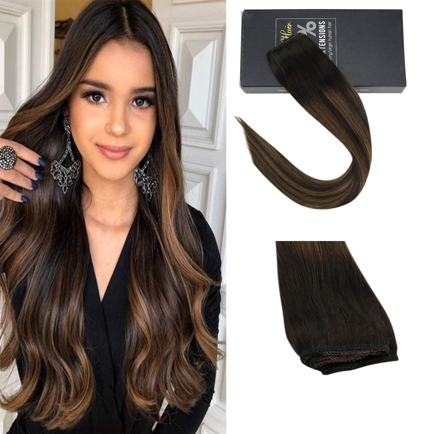 Sunny One Piece Clip in Human Hair Extensions 16 inch Clip in Hair Extensions Brown Balayage Remy Hair Clip in Darkest Brown Mixed