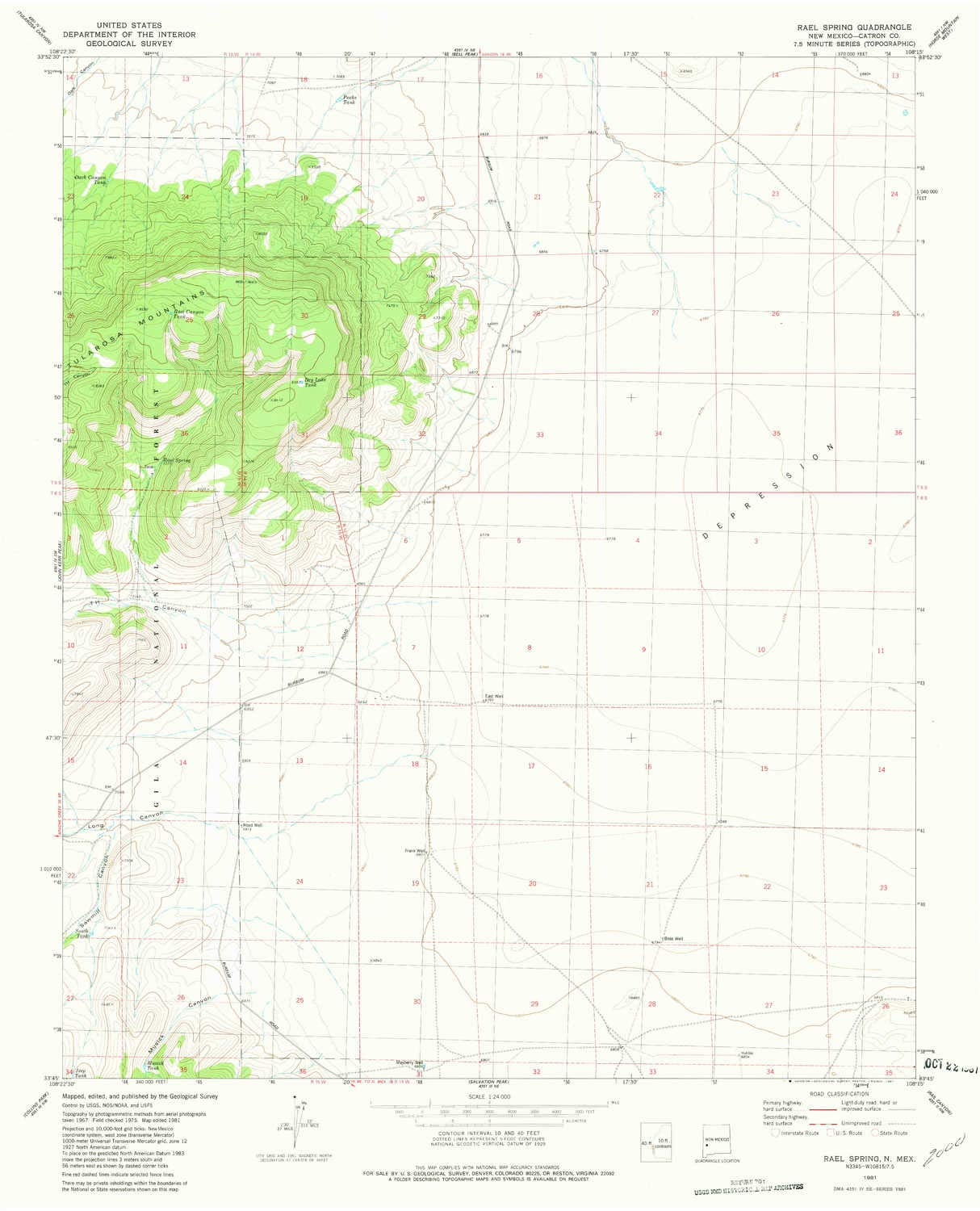 Amazon YellowMaps Rael Spring NM topo map 1 Scale 7 5