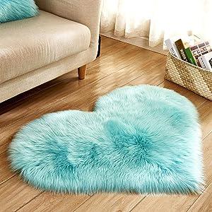 Clearance Tuscom Heart Shape Wool Imitation Sheepskin Non Slip Rugs,for Bedroom Float Window Mat, Bed Mat, Carpet, Door Mat,40 x 50 cm Area Rug (C)