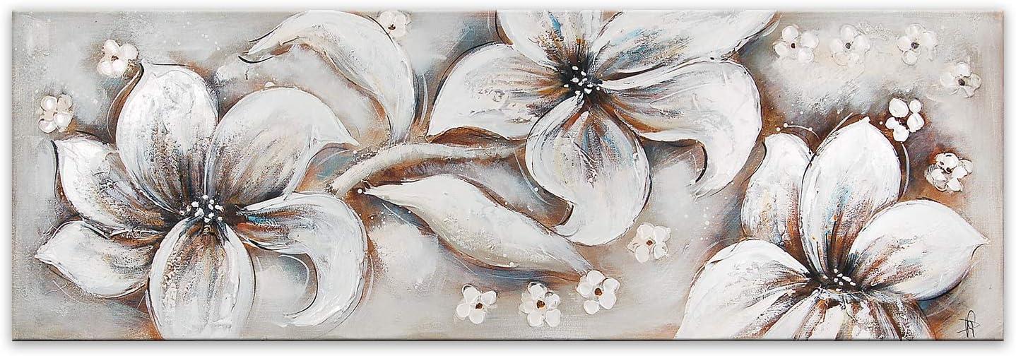 ADM Flores Blancas Cuadro de Flores Moderno Pintado a Mano sobre Lienzo montado sobre Bastidor estético Alto AS461X1