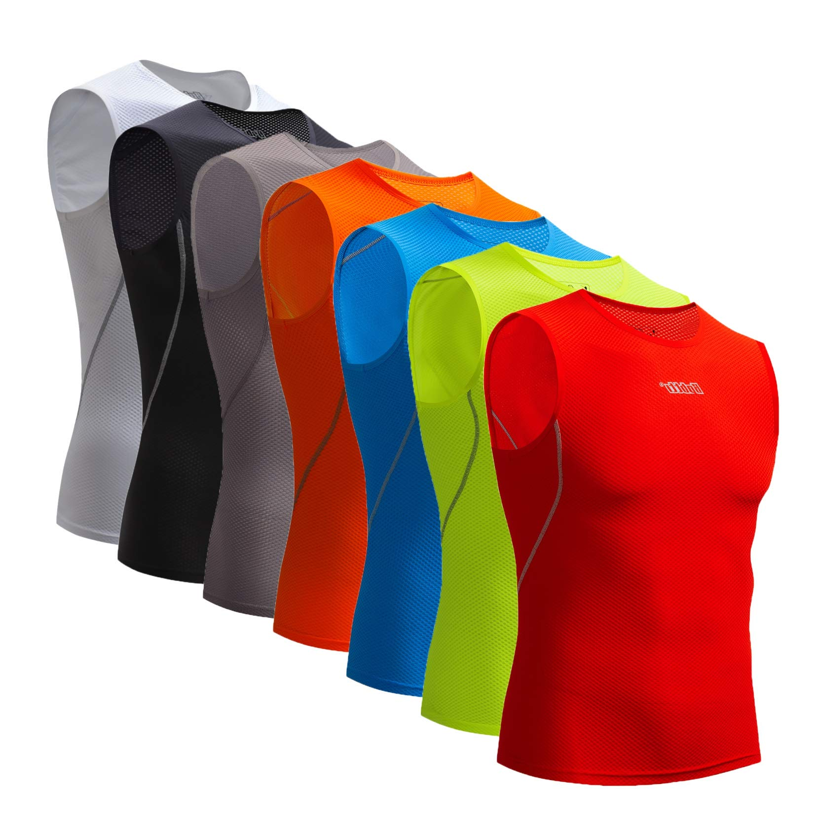Bpbtti Men's Sleeveless Cycling Base Layer Bike Undershirt,Breathable,Superlight and Moisture Wicking (1 Pack Red, Small)