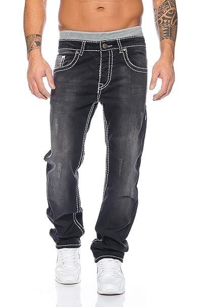 Herren Designer Denim Jeans Hose Schwarz dicke Rote Nähte kaufen