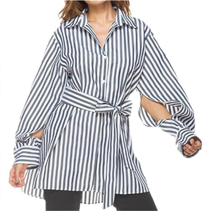 Tayaho Camisetas de manga larga Mujer Blusas Rayas Tops Oficina Modernas T-shirt Largo Cardigan Camisetas Bonitas Tshirt De Botones Outwear Personalizadas: ...