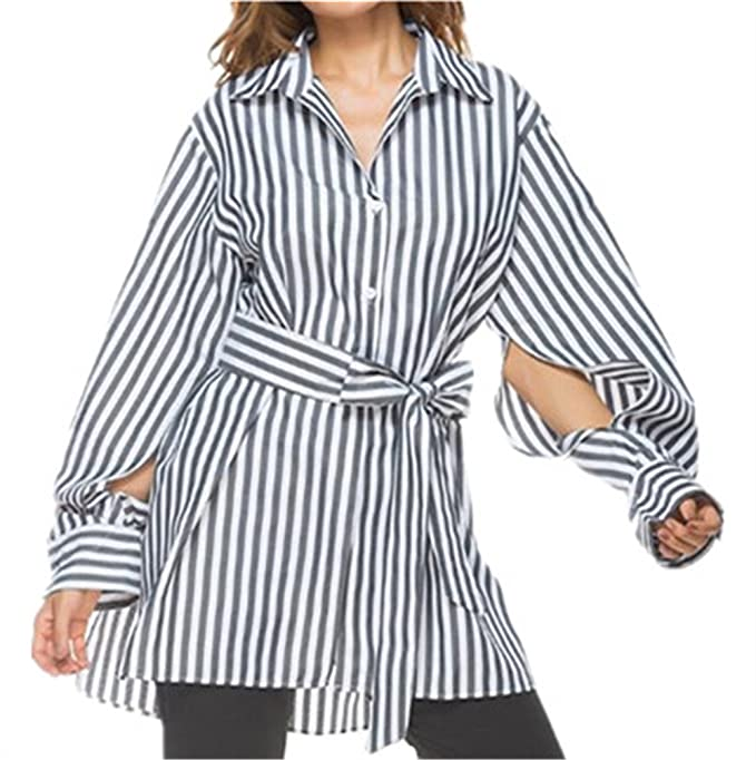 Tayaho Camisetas de manga larga Mujer Blusas Rayas Tops Oficina Modernas T-shirt Largo Cardigan