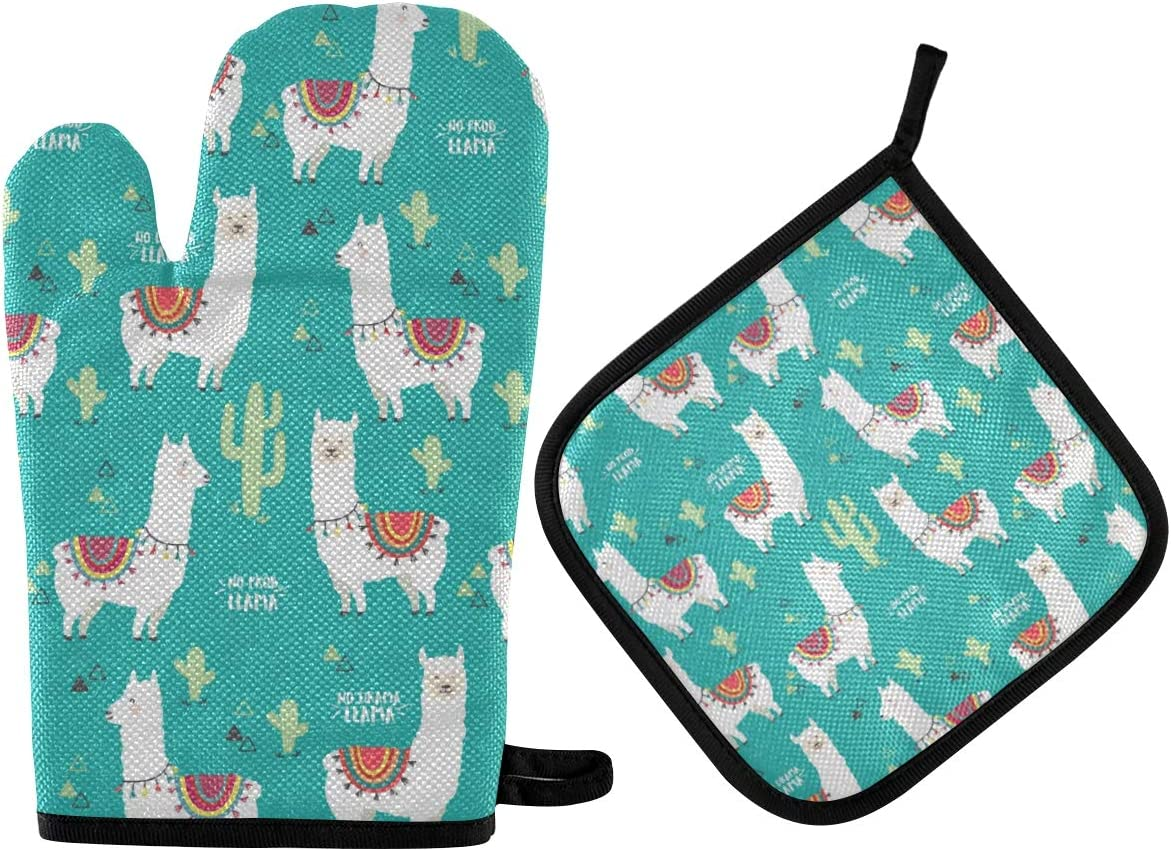 Qilmy Llama Oven Mitts and Pot Holders Heat Resistant Gloves Kitchen Counter Safe Mats for BBQ Cooking Baking Grilling Microwave