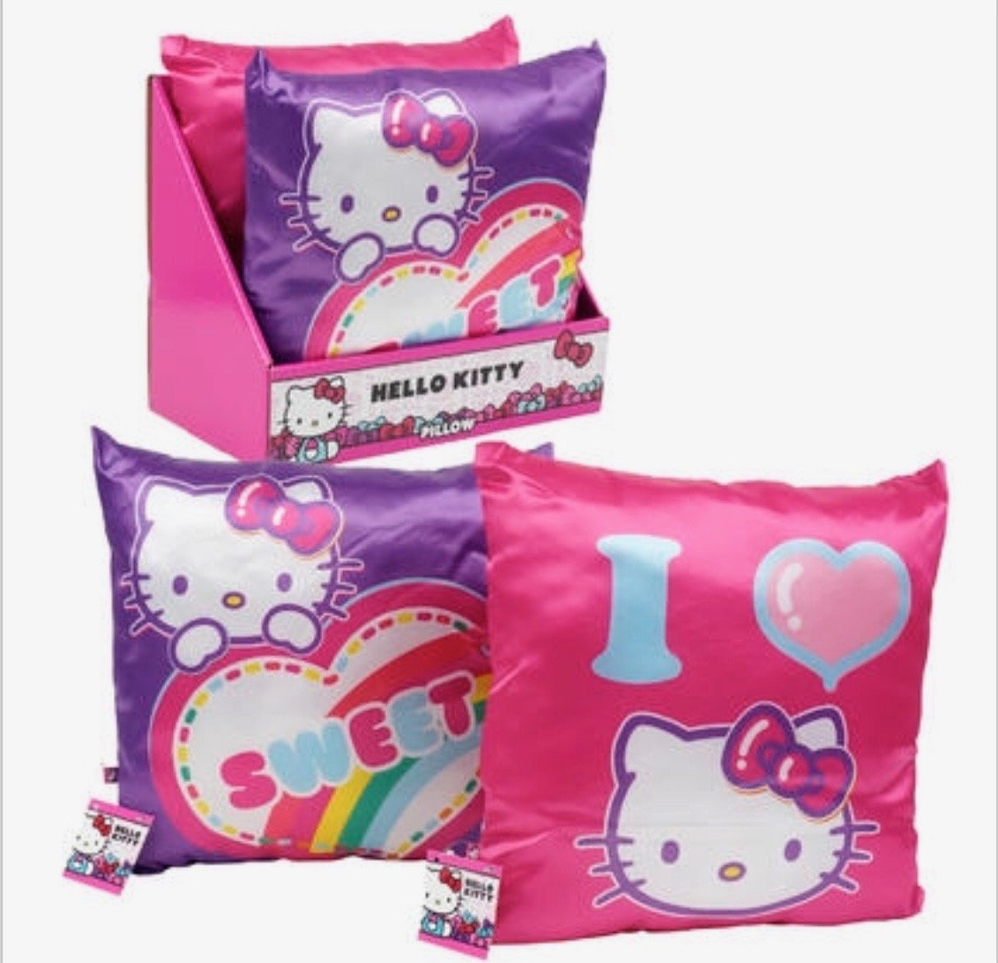 Hello Kitty 2 Pack Decorative Shinny Pillow,Heavy Padding,11 x 11 in,For Girl,Perfect Gift idea For Bedroom Decoration,Birthday,Christmas,Easter(available also by one Pack) (2 Pack) made in china
