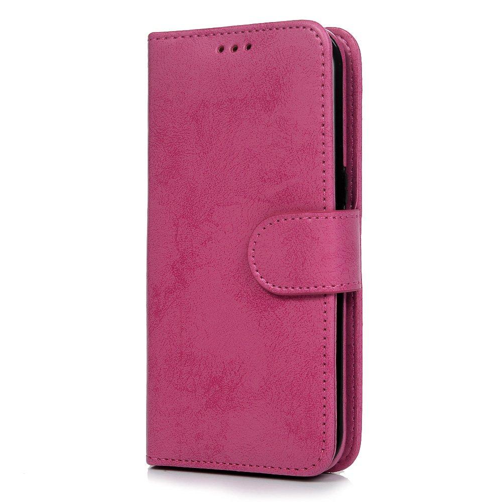 Funda para Samsung Galaxy S7 Edge, 2 en 1, retro, elegante, de piel sintética, con función atril, tarjetero y ranura para identificación, funda protectora para Samsung Galaxy S7 Edge, Rose Red Tophung