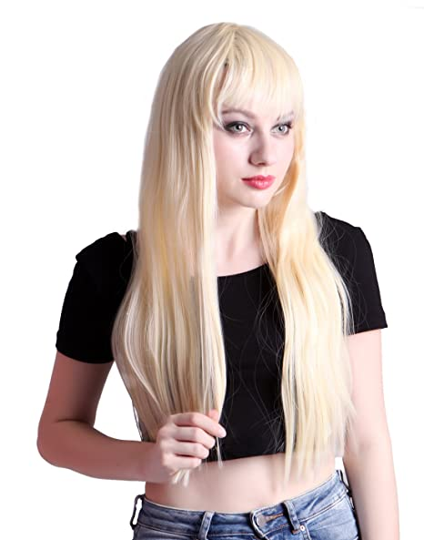 Amazon Hde Womens Long Straight Blonde Hair Wig For Cosplay