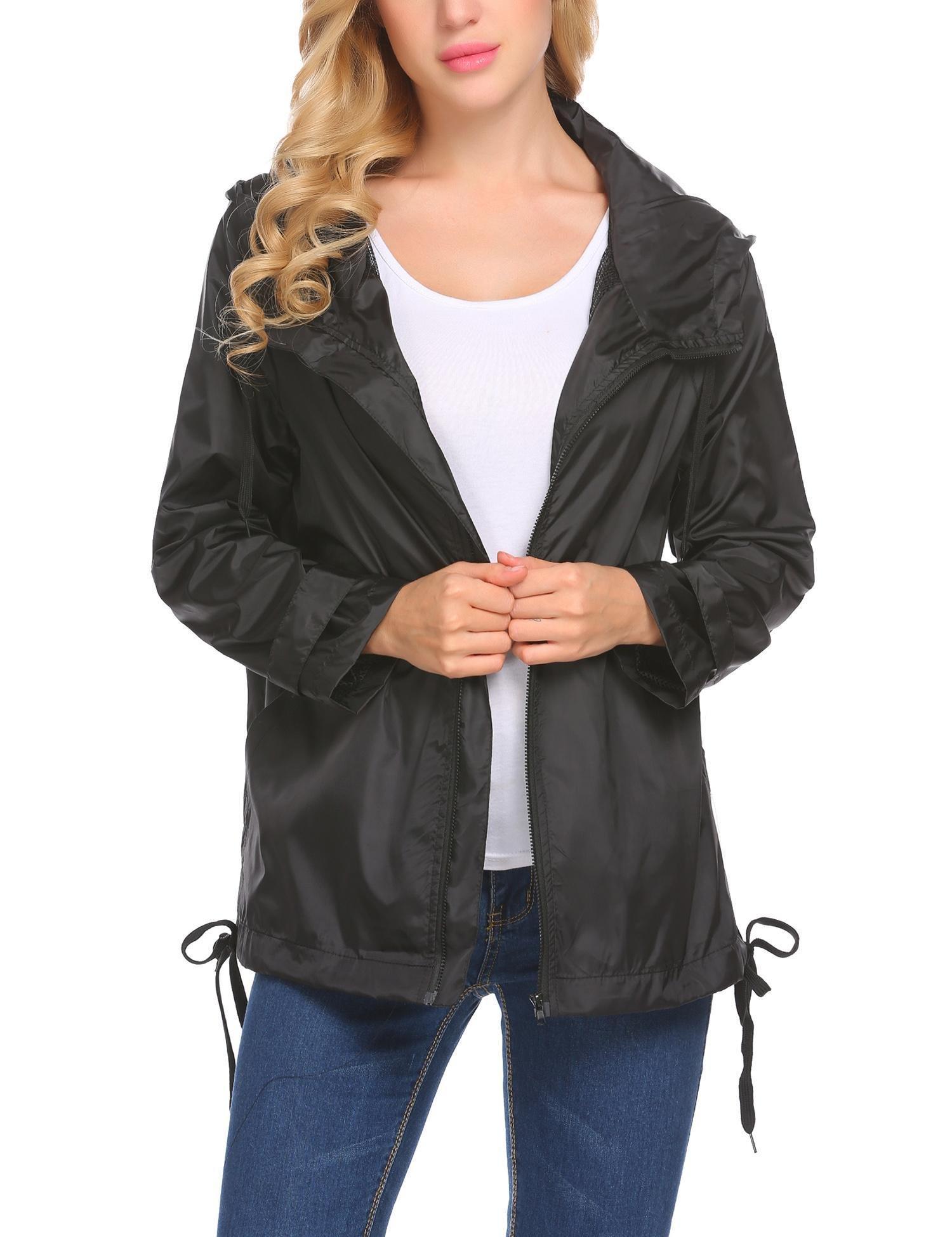 Zeagoo Women's Lightweight Travel Trench Waterproof Raincoat Hoodie Windproof Hiking Coat Black,XL