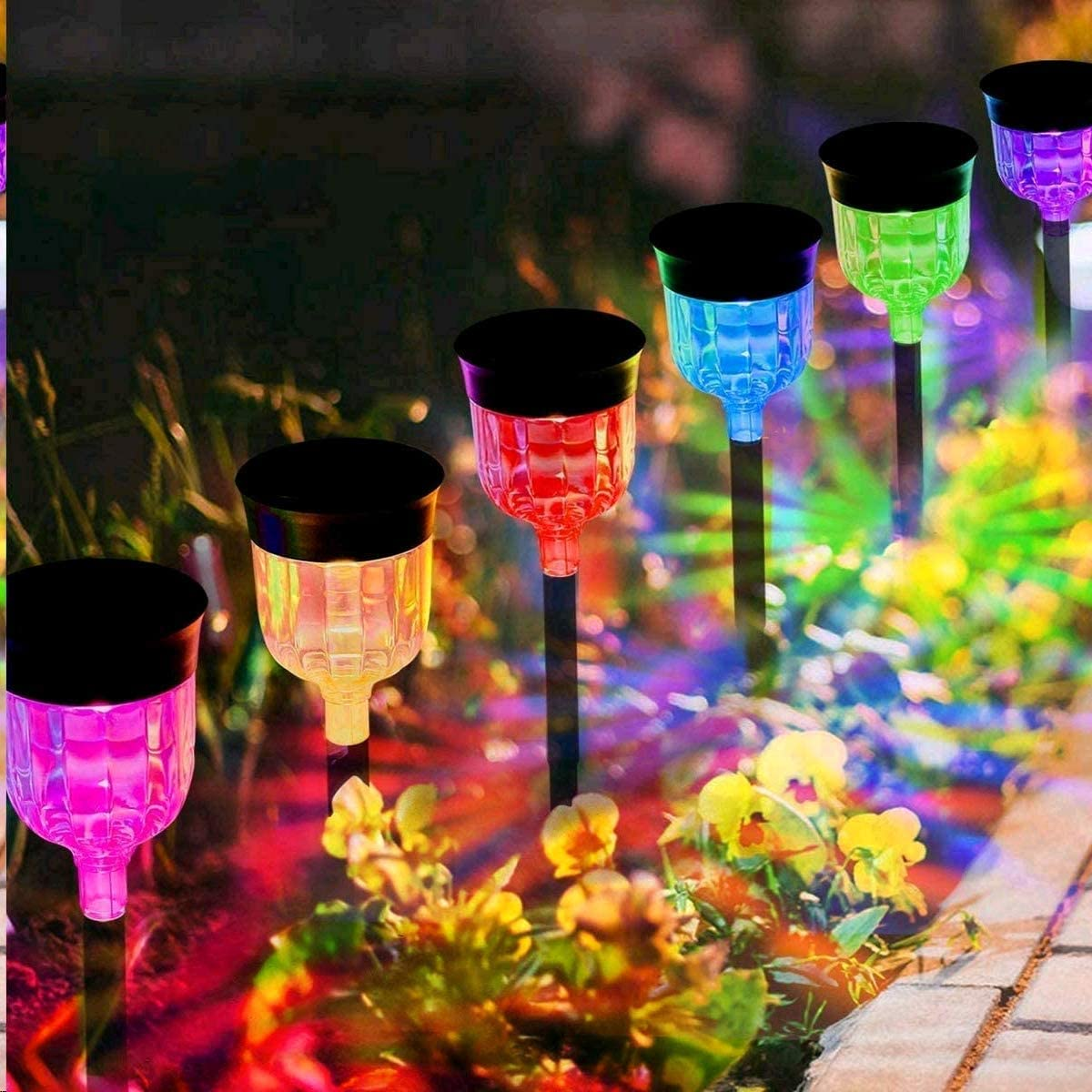 Solar Garden Lights Colorize,YUJENY Waterproof Solar Garden Lights (6 Units) Color Changing Solar Landscape Path Lights Auto On/Off for Yard Lawn Patio Walkway Sidewalk Driveway