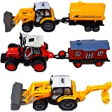 Check Out This Awesome 3 Piece Bundle Tractor Toys Gift Pack For Toddlers That Includes One Farm Tractor With A Trailer and One With A Plow And Trailer And One With A Scooper And Digger All For Ages 3