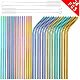 [30 PCS] Value Pack Metallic Reusable Stainless Steel Straws Combinations, Tomorotec Home Metal Straw Sets with Cleaning…