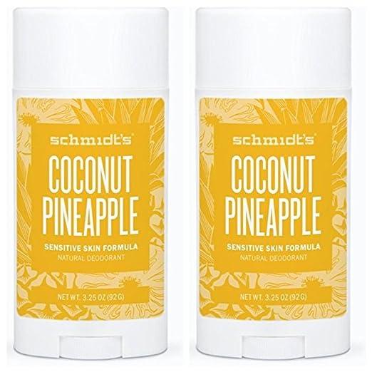 Schmidt's Natural Deodorant - Coconut Pineapple 3.25 Oz Sensitive Skin Stick; Aluminum-Free Odor Protection & Wetness Relief (Pack Of 2) Best Natural Deodorant