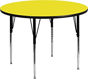 Flash Furniture 48'' Round Yellow HP Laminate Activity Table - Standard Height Adjustable Legs