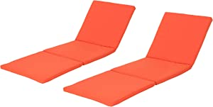 Christopher Knight Home Jamaica Outdoor Water Resistant Chaise Lounge Cushions, 2-Pcs Set, Orange