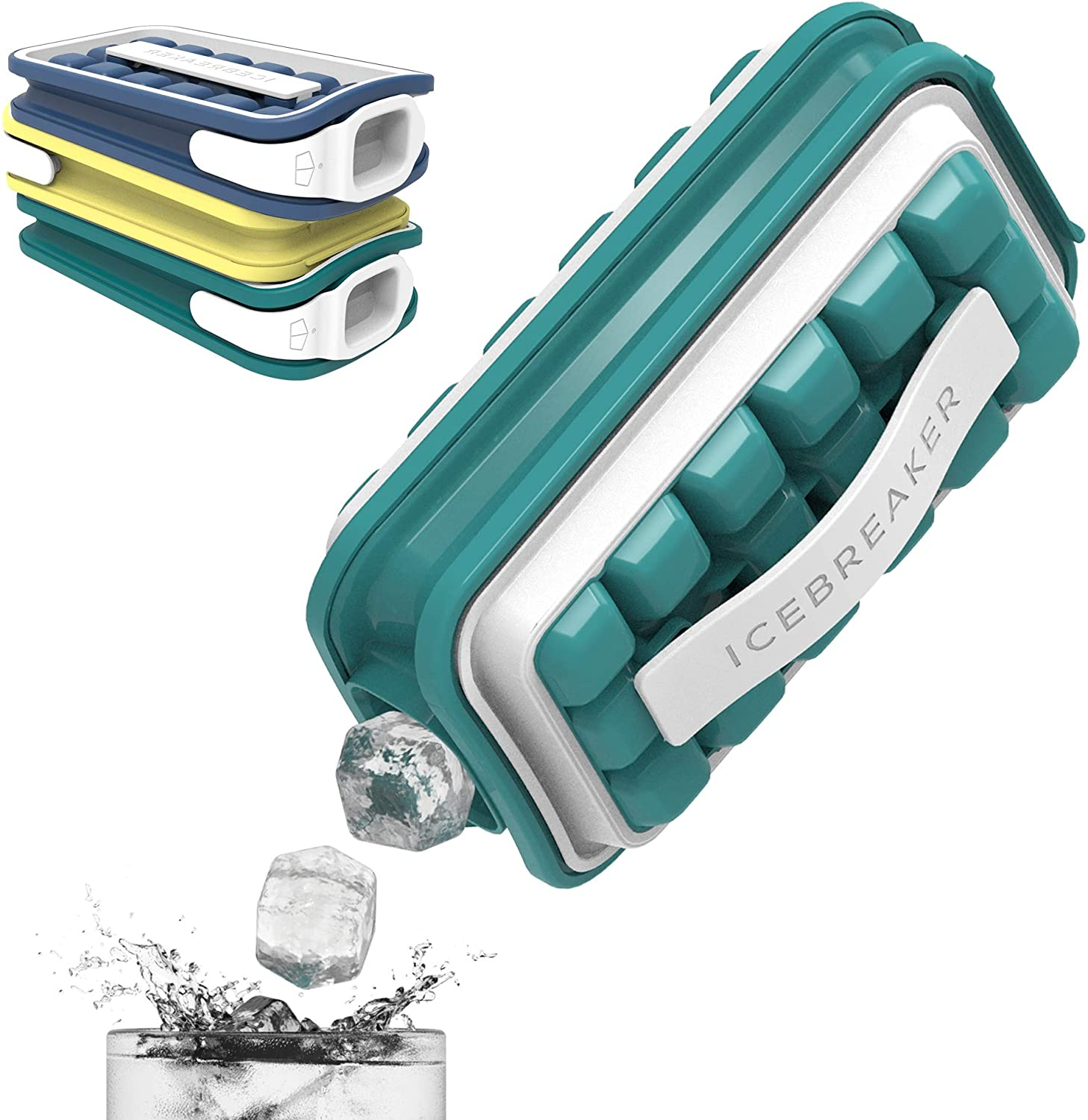 ICEBREAKER POP - The Reinvented Ice Cube Tray Mold - Ice Maker With Lid - Ultra-Portable No Spill Cover, Non-BPA and Reusable - Makes 18 Large Frozen Cubes - Water Blue Color