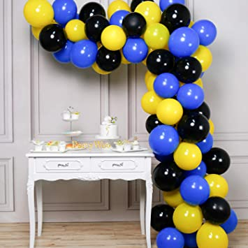 PartyWoo Blue Black Yellow Balloons, 80pcs 12 in Yellow Balloons, Black Balloons, Royal Blue Balloons, Black and Yellow Balloons, Blue Yellow Balloons ...