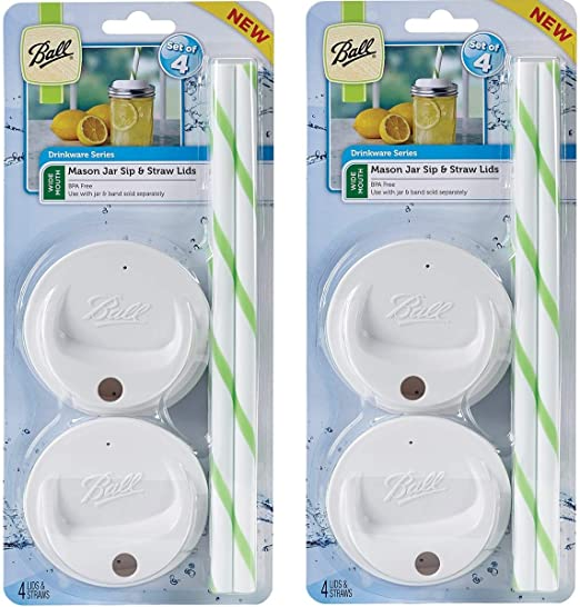 Fits Wide Mouth Jars Wide Mouth - 2 Pack Ball Sip and Straw Lids 4//pkg