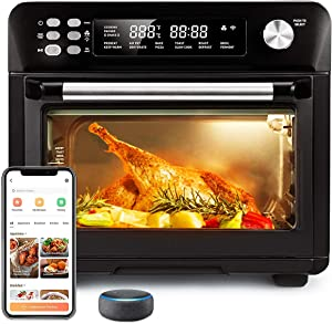 26.4-Qt Air Fryer Toaster Oven Combo, Smart 12-in-1 Convection Toaster Oven Remote Control with Alexa (1800W), Sold by BARONI