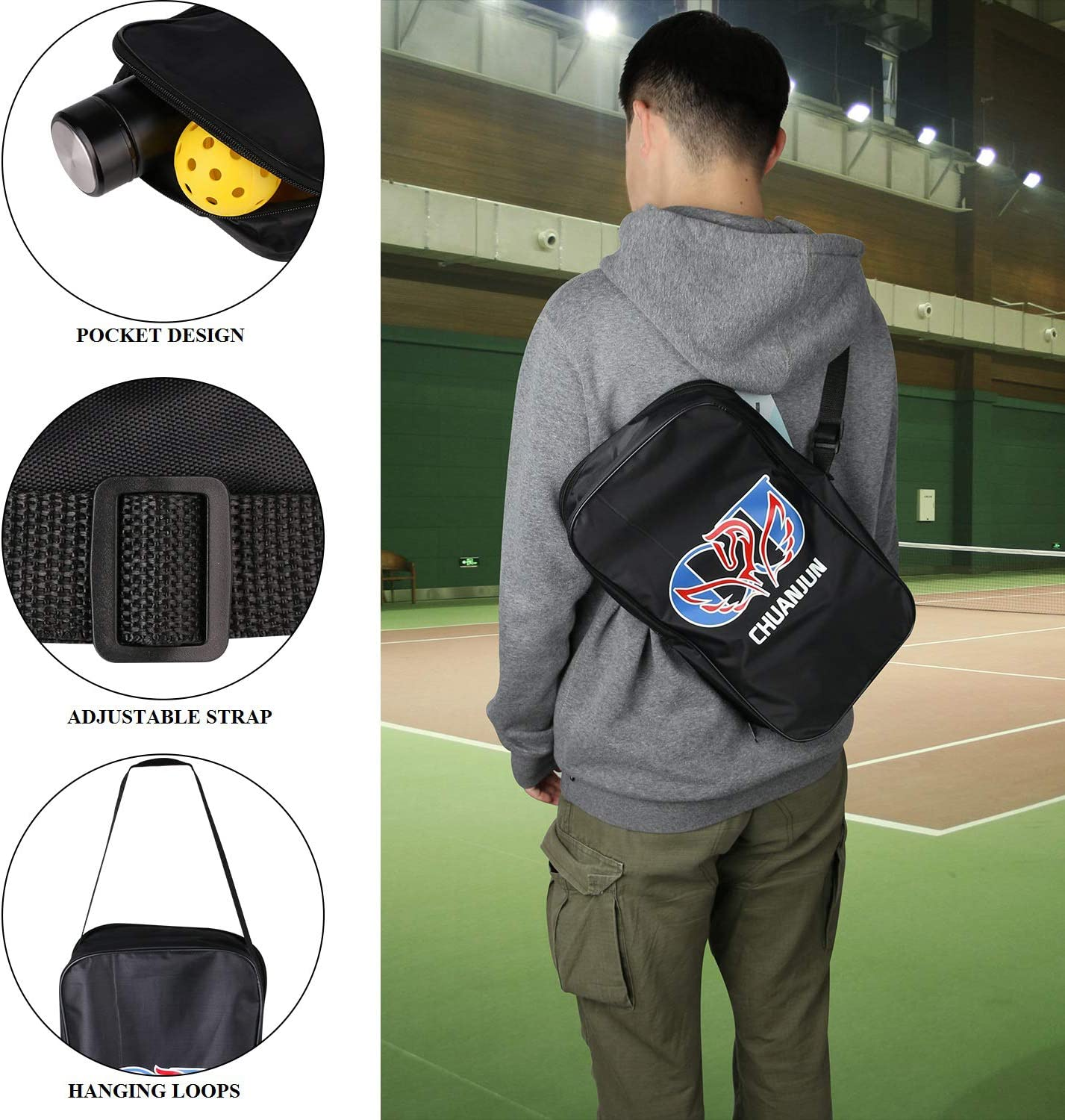 Chuanjun Pickleball Paddle Set,Lightweight Carbon Fiber Soft Cushion Grips Pickleball Paddle Set with 2 Pickleball Paddles,4 pickleballs and 1 Zipper Carrying Bag for Beginners Indoor and Outdoors