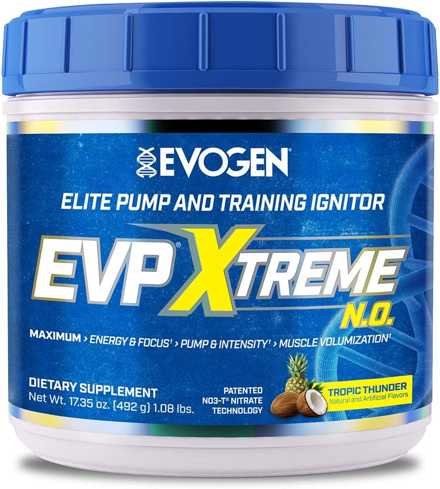 Evogen Nutrition EVP Xtreme NO Arginine Nitrate, Beta-Alanine, Citrulline Pre-Workout, Nitric Oxide, Pumps 40 Servings Tropic Thunder